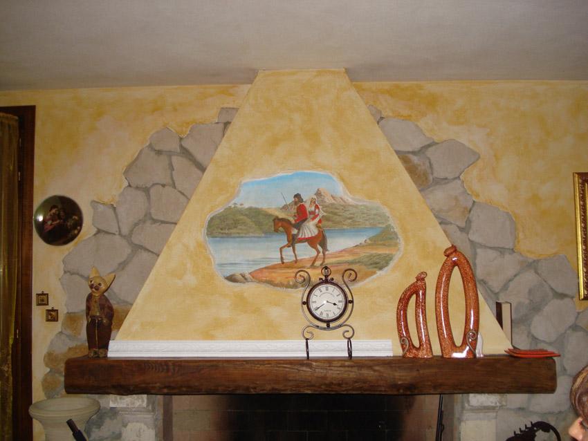 Decorazione su cappa camino soggetto sardo ru me for Decorazioni per cappe da cucina